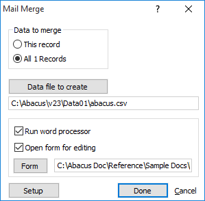 creating editing the mail merge template