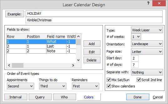 Addingediting A Calendar Report Template