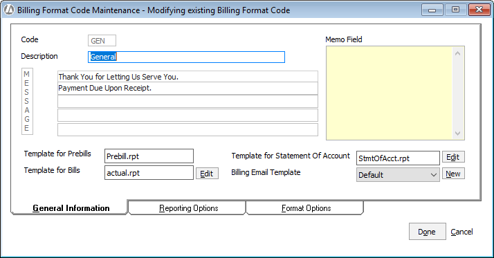 Adding Editing Billing Format Codes